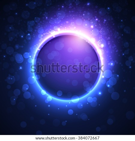 Vector banner template for night party. Premium abstract background with bokeh defocused lights and glowing transparent sphere in center - stock vector