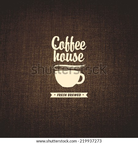 vector banner with a cup of coffee on a background fabric texture - stock vector