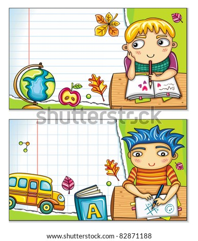 Vector banner with cute children sitting at the desks and school design elements. Copybook background, space for your text. - stock vector