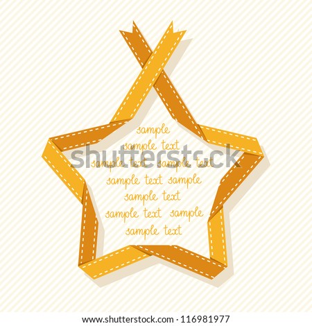 Vector banner with star made from gold paper ribbon. Origami modern simple background with text box for presentation. Original drawing design element label, mark of quality, greeting card of winner - stock vector