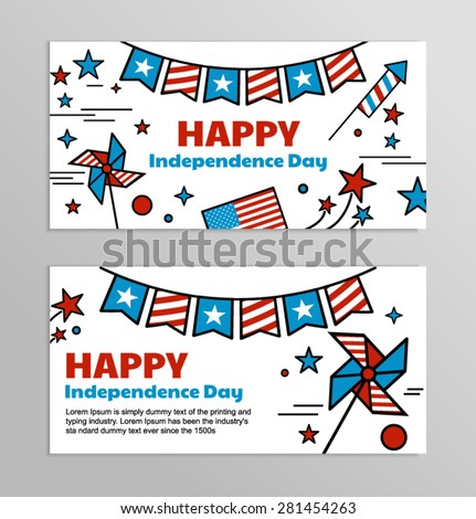 Vector banners for American Independence Day. Set of bright web banners for celebrating of the 4th of July. Illustrations and symbols of America — red and blue flag with stars. - stock vector