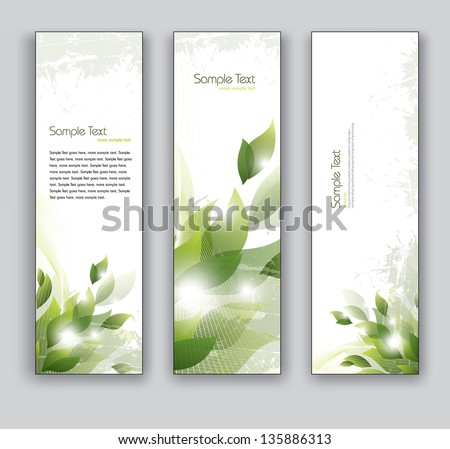 Vector Banners. Set of Three. Abstract Background With Leaves. - stock vector