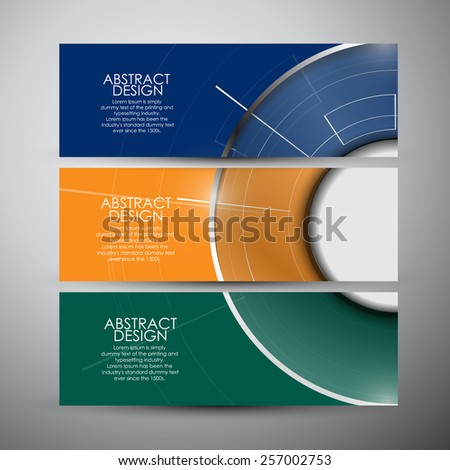 Vector banners set with Abstract Modern technology circles background - stock vector