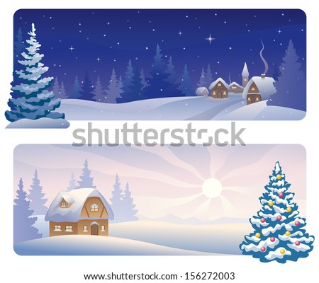 Vector banners with a snowy night village and a Christmas morning house - stock vector