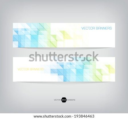 Vector banners with abstract multicolored polygonal mosaic background. Modern geometric triangular pattern. Business design template. Light blue, green and yellow colors - stock vector