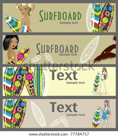 Vector banners with beautiful girls and surfboards - stock vector