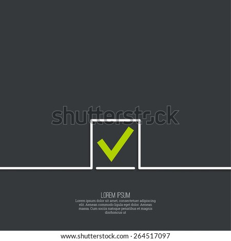 Vector banners with check marks confirmation, acceptance positive passed voting agreement true. - stock vector