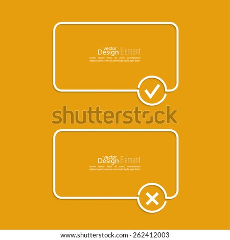 Vector banners with check marks confirmation, acceptance positive passed voting agreement true and form of access denial, refusing. Outline. minimal. - stock vector