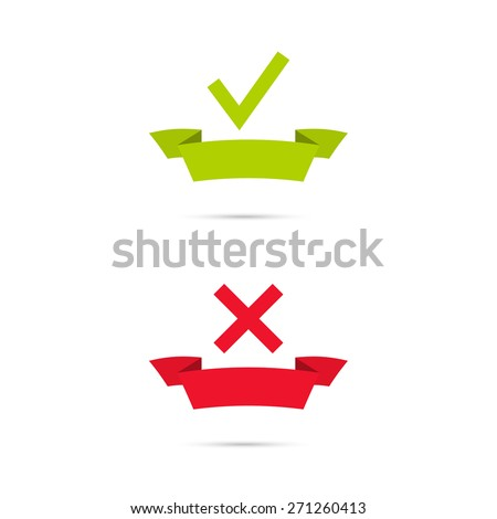 Vector banners with check marks confirmation, acceptance positive passed voting agreement true and form of access denial, refusing. Banner of the ribbon - stock vector