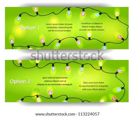 Vector banners with  colorful bubl garland on the green background - stock vector