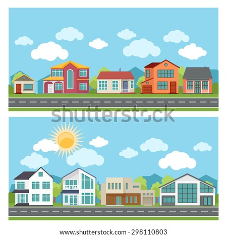 Vector banners with cottage houses in flat design style. Architecture and building,  town and urban city apartment illustration - stock vector