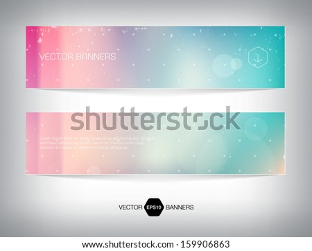 Vector banners with retro blurry soft photographic bokeh background. Smooth unfocused film effect. Soft shades, light leaks, cross process effect. - stock vector