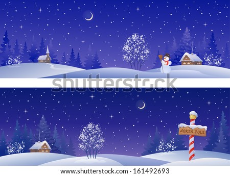 Vector banners with snowy winter countryside - stock vector