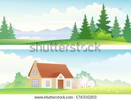 Vector banners with summer and spring landscapes. - stock vector