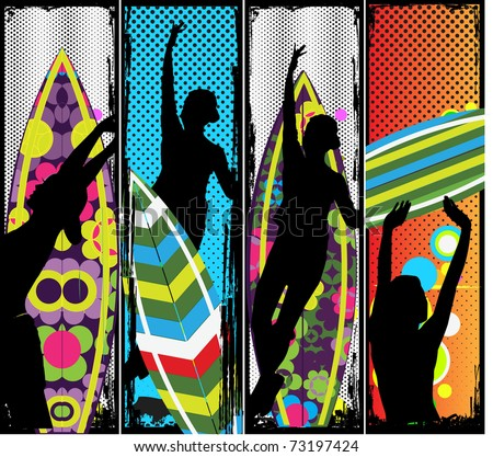 Vector banners with surf boards and silhouettes of women. - stock vector