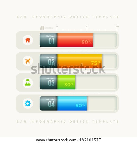 Vector bar infographic design template. Elements are layered separately in vector file. - stock vector