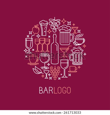 Vector bar logo in linear style - wine and drinks icons and signs  - stock vector