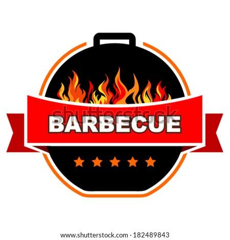 Vector barbecue label design. - stock vector