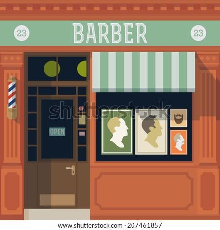 Vector barber shop detailed facade background - stock vector