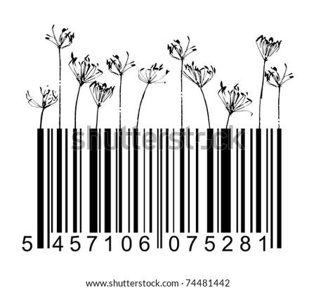 Vector barcode black flowers - stock vector