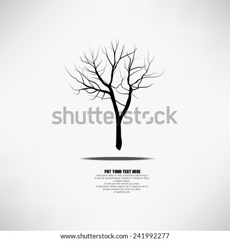 Vector bare tree silhouette with shadow and a place for your text and in the form of card, for cards, logo, emblems, bio production, gardens. companies, covers, labels - stock vector