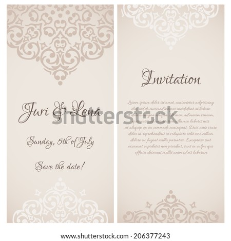 Vector baroque damask wedding invitation banners with a place for your text - stock vector