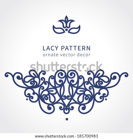 Vector baroque ornament in east style. Ornate element for design. Toolkit for designer. Lace ornamental pattern for wedding invitations and greeting cards. Traditional decor. - stock vector