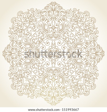 Vector baroque ornament in Victorian style. Element for design. Light lace background. It can be used for decorating of invitations, cards, decoration for bags and clothes. - stock vector