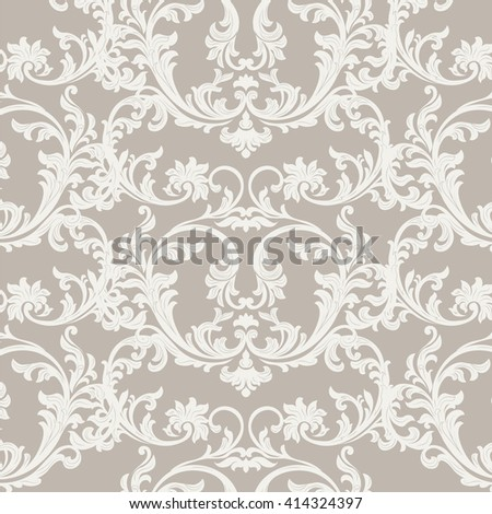 Vector Baroque Vintage floral damask pattern element background. Luxury Classic Damask ornament, royal Victorian texture for wallpapers, textile, fabric  - stock vector