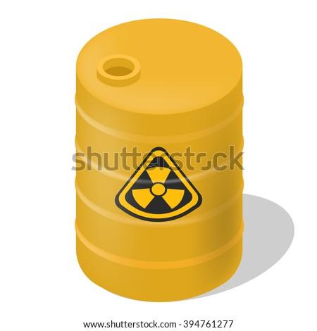 Vector barrel isometric. Isolated hazard toxic barrel. Yellow barrel isometric with sign toxic. - stock vector