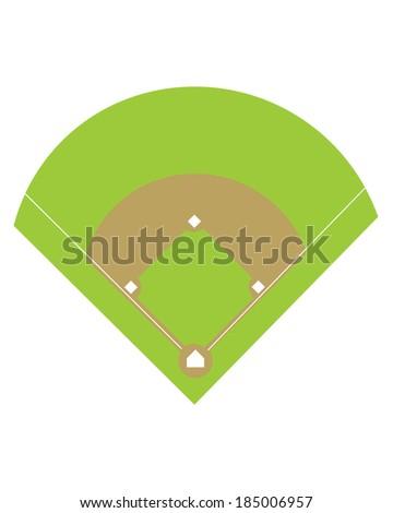 Vector Baseball Diamond and Field - stock vector