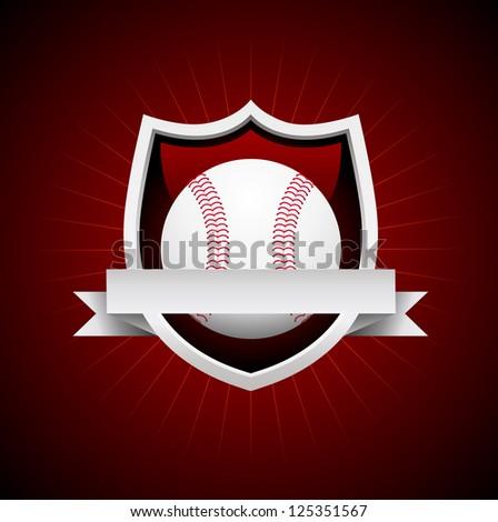 Vector Baseball Emblem - silver shield. No transparency - stock vector