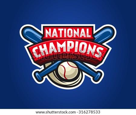 Vector Baseball Logo for a Baseball team. Red vector template. Vector Illustration isolated on blue background. Sport Team Identity - stock vector