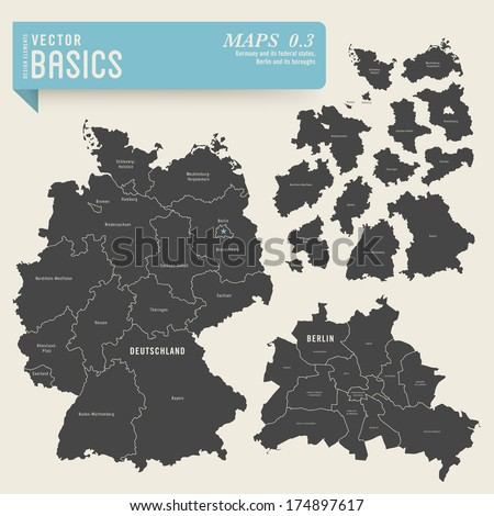 vector basics: maps of Germany with its federal states and Berlin with its boroughs - stock vector