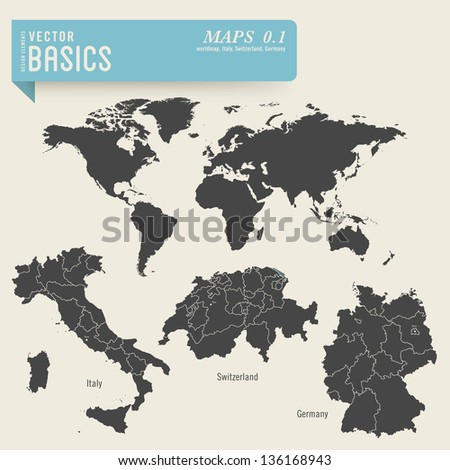 vector basics: maps 1 - worldmap and detailed ones of Italy, Switzerland and Germany, including their administrative divisions and capital cities - stock vector