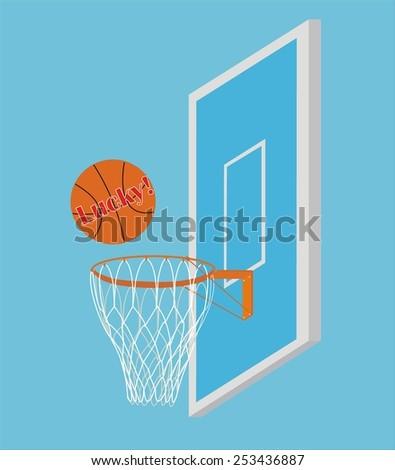 Vector Basketball Scoring Points. Inscription Lucky on the ball - stock vector