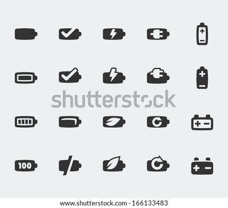 Vector battery mini icons set - stock vector
