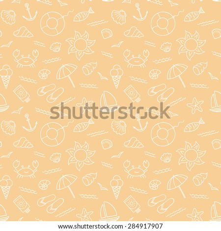 Vector beach pattern for summer. - stock vector