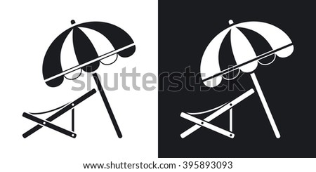 Vector beach umbrella and deck chair icon. Two-tone version on black and white background - stock vector