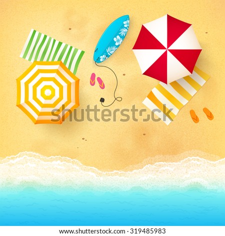 Vector beach with waves, umbrellas, bright towels and blue surfing board - stock vector
