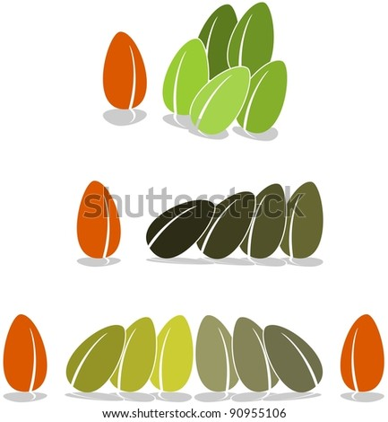 Vector beans or seed in various arrangements - stock vector