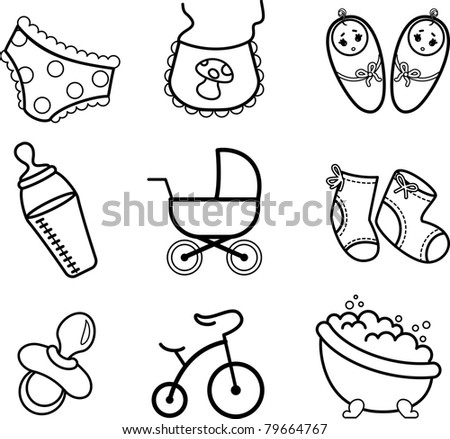 Vector beautiful baby icons - stock vector