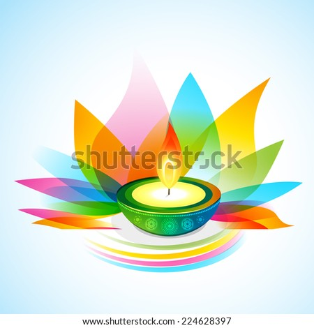 vector beautiful colorful diwali background - stock vector
