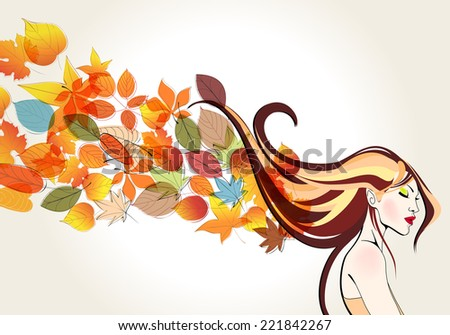 Vector beautiful, cute, hand drawn style autumn woman and leaves illustration - stock vector