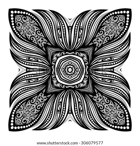 Vector Beautiful Deco Black Square, Patterned Design Element - stock vector