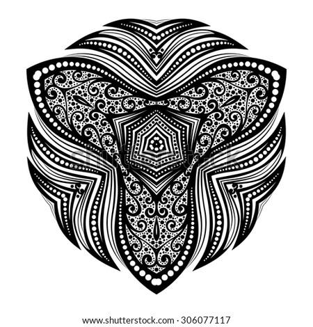 Vector Beautiful Deco Black Triangle, Patterned Design Element, Original Mandala - stock vector