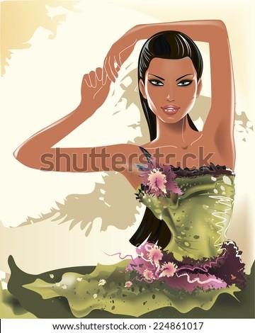 Vector beautiful fashion girl model is posing - stock vector