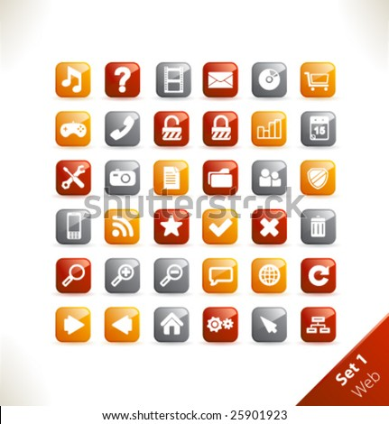 Vector beautiful icon set. Part 1 - Web - stock vector