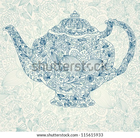Vector beautiful lacy teapot - stock vector