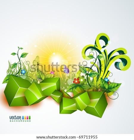 vector beautiful landscape design art - stock vector